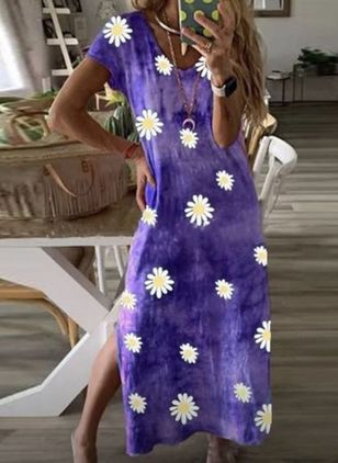 Casual Floral Tunic V-Neckline Shift Dress (4209078)
