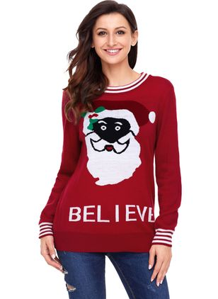 Round Neckline Cartoon Loose Regular Sweaters
