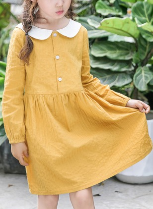 Girls' Sweet Color Block Daily Long Sleeve Dresses