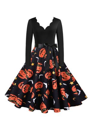 Halloween Color Block V-Neckline Midi X-line Dress (111607810)