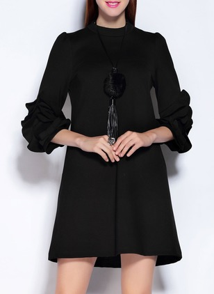 Cotton Solid 3/4 Sleeves Above Knee Dresses