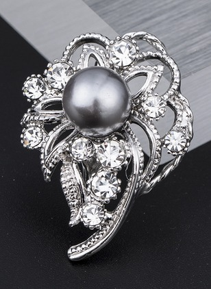 Single Floral Ball Crystal Brooches