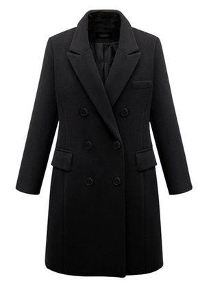 Long Sleeve Lapel Buttons Pockets Coats (146704396)