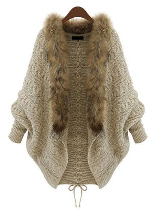 Long Sleeve Collarless Fur Coats (103038428)