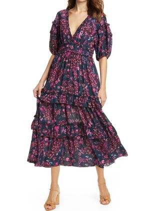 Chic Floral V-Neckline Midi A-line Dress (1514642)
