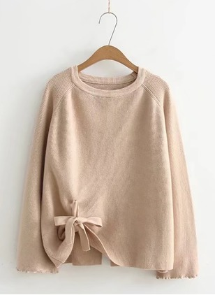 Cotton Blends Round Neckline Solid Loose Bow Sweaters