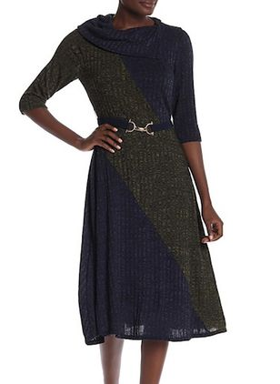 Color Block Sweater Half Sleeve Knee-Length X-line Dress