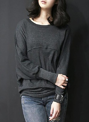Polyester Solid Boat Neckline Long Sleeve Casual T-shirts