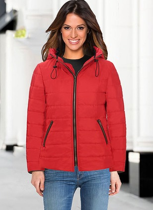 Polyester Long Sleeve Stand Collar Zipper Down Coats Coats