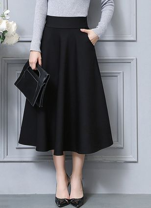 Solid Mid-Calf Elegant Pockets Skirts