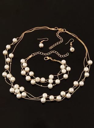 Ball Round Pearls Necklace Earring Ring Jewelry Sets