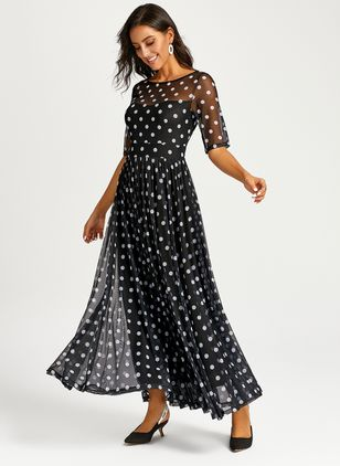 Arabian Polka Dot None Off the Shoulder X-line Dress (1309018)