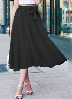 Solid Mid-Calf Casual Sashes Skirts (147152059)