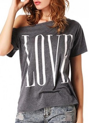 Polyester Alphabet Oblique Neckline Short Sleeve Casual T-shirts