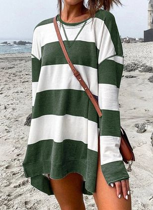 Casual Stripe Tunic Round Neckline Shift Dress (111323613)
