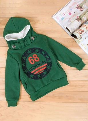 Boys' Casual Print Hooded Coats