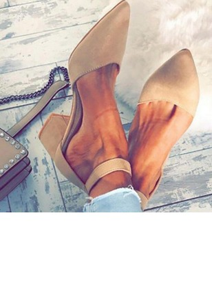 Ankle Strap Pointed Toe Nubuck Chunky Heel Shoes