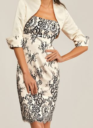 Elegant Floral Pencil Round Neckline Bodycon Dress (1386369)