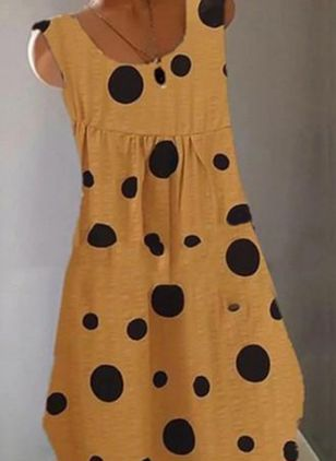 Casual Polka Dot Tunic Round Neckline A-line Dress (4339179)