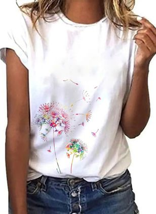 Floral Round Neck Short Sleeve Casual T-shirts (4218877)