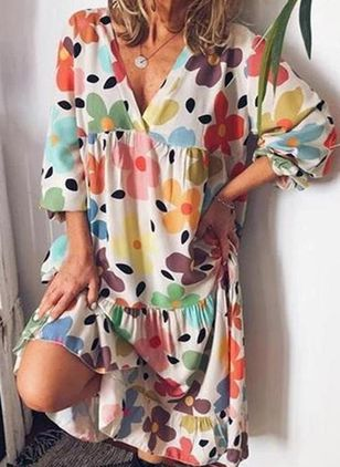 Tunic Floral V-Neckline Casual Midi Plus Dress (4072374)