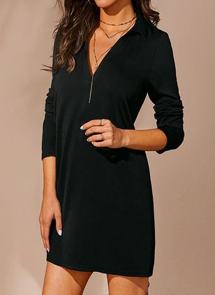 Casual Solid V-Neckline Above Knee X-line Dress (1435182)