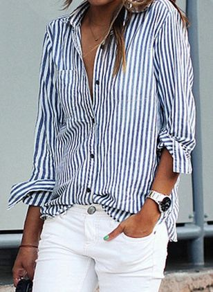 Stripe Casual Collar Long Sleeve Blouses (146966762)