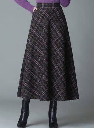 Check Mid-Calf Elegant Pockets Skirts (146722588)