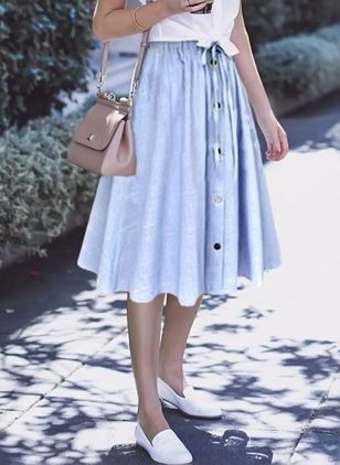 Stripe Knee-Length Casual Buttons Sashes Skirts