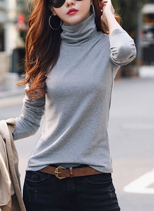 Cotton Solid High Neckline Long Sleeve Elegant T-shirts