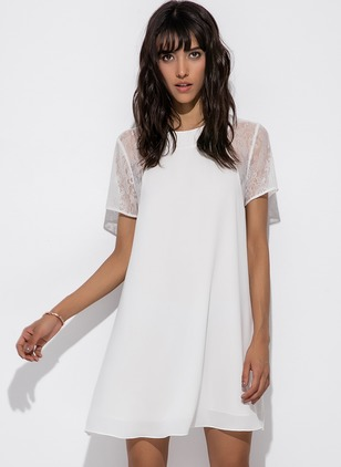 Solid Lace Short Sleeve Above Knee Shift Dress