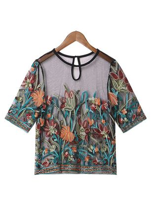 Plus Size Floral Casual Round Neckline Short Sleeve Blouses