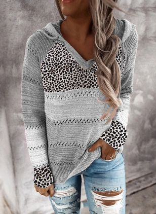 V-Neckline Leopard Casual Regular Shift Sweaters (108089049)