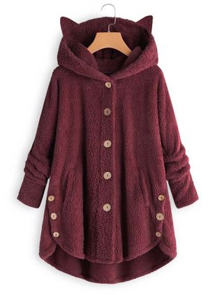 Long Sleeve Hooded Buttons Pockets Parkas Coats (5144413)