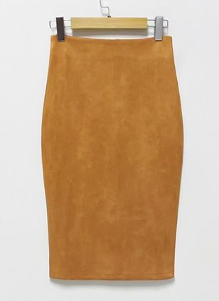 Solid Knee-Length Elegant None Skirts