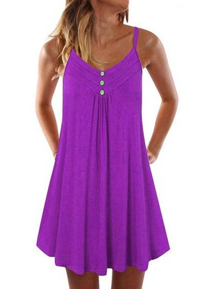 Casual Solid Tunic Camisole Neckline A-line Dress (1539841)