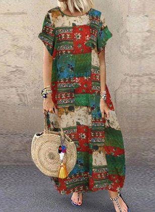 Casual Floral Tunic Round Neckline A-line Dress (100001949)