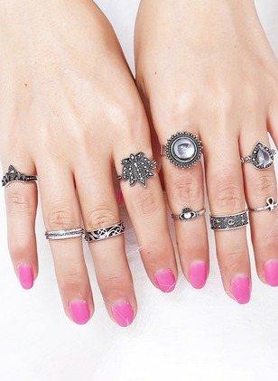 Water Drop Round Crystal Rings 9pcs