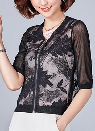 Polyester Half Sleeve Round Neck Zipper Appliques Coats
