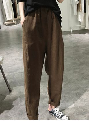 Casual Loose Mid Waist Polyester Pants (120649142)