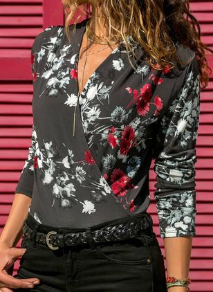 Floral Casual V-Neckline Long Sleeve Blouses (109973382)
