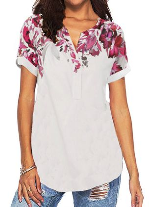 Floral V-Neckline Short Sleeve Casual T-shirts (104918559)