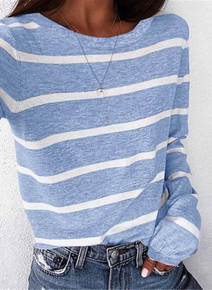 Stripe Round Neck Long Sleeve Casual T-shirts (4355870)