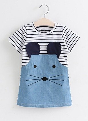 Girls' Cute Cartoon Daily Short Sleeve Dresses