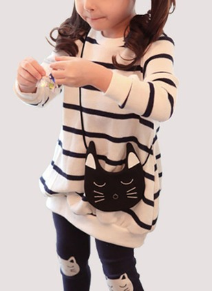 Girls' Stripe Round Neckline Long Sleeve Tops