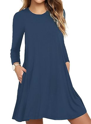 Solid Pockets Long Sleeve Above Knee A-line Dress