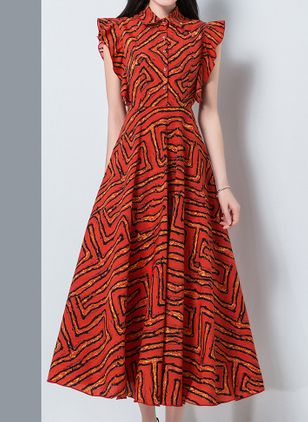 Chic Geometric Collar Maxi X-line Dress (1530085)
