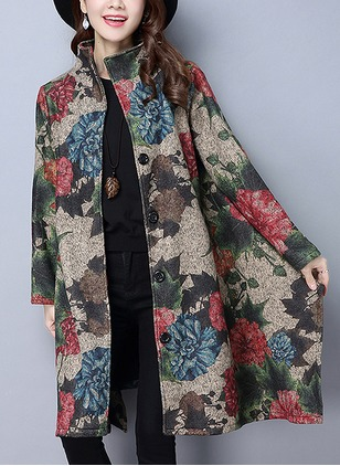 Cotton & Cotton Blend Long Sleeve Other Appliques Others Coats