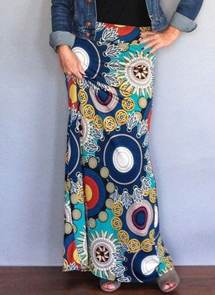 Floral Maxi Casual Pattern Skirts (4094237)