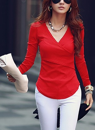 Cotton Solid V-Neckline Long Sleeve Casual T-shirts